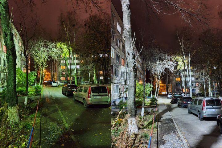 Слева светильник ДРЛ 250, справа светодиодный мощностью 60Вт